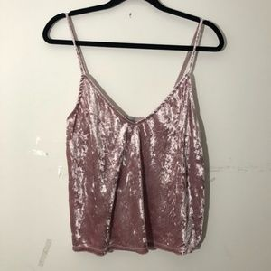 Crushed velvet pink crop cami